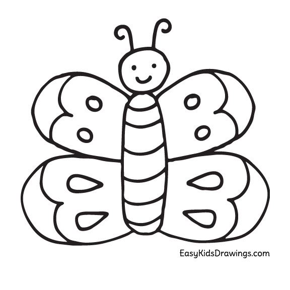 How To Draw A Butterfly Super Easy For Kids Easy Kids Drawings