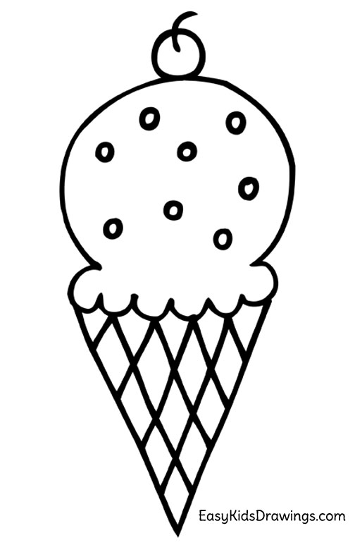 How To Draw An Ice Cream Cone Easy Kids Drawings